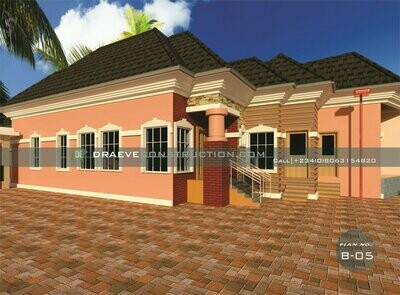 3 Bedroom Bungalow with a Shop for Madam  | Nigerian House Plans