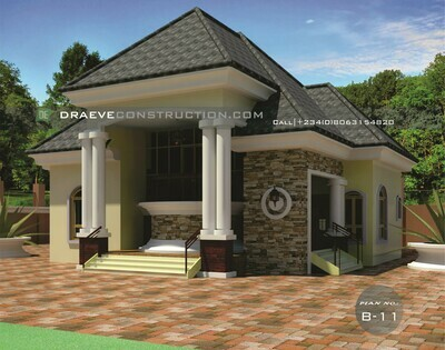 2 Bedroom Bungalow Floorplan with Key Construction Materials | Nigerian House Plans