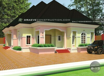 2 Units of 3 Bedroom Flats Floorplan with Key Construction Materials | Nigerian House Plans