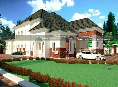5 Bedroom Luxury Bungalow with Penthouse | Nigerian House Plans