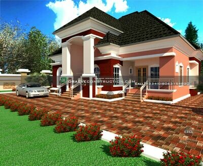 3 bedroom bungalow with 1 bedroom flat  Plan Preview | Nigerian House Plans