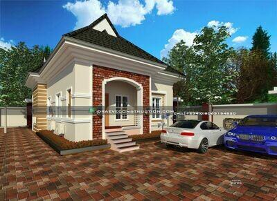 2 Bedroom Bungalow Floor Plan for a Half Plot | Nigerian House Plans
