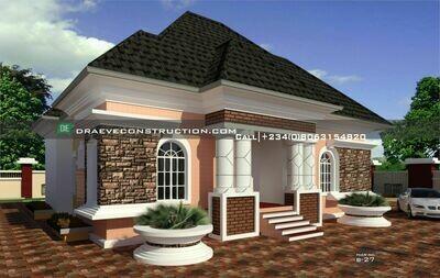 3 Bedroom Bungalow Floorplan with Key Construction Materials Estimate | Nigerian House Plans