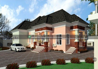 1 Bedroom Flat Floorplan with 3 Self-contains | Nigerian House Plans