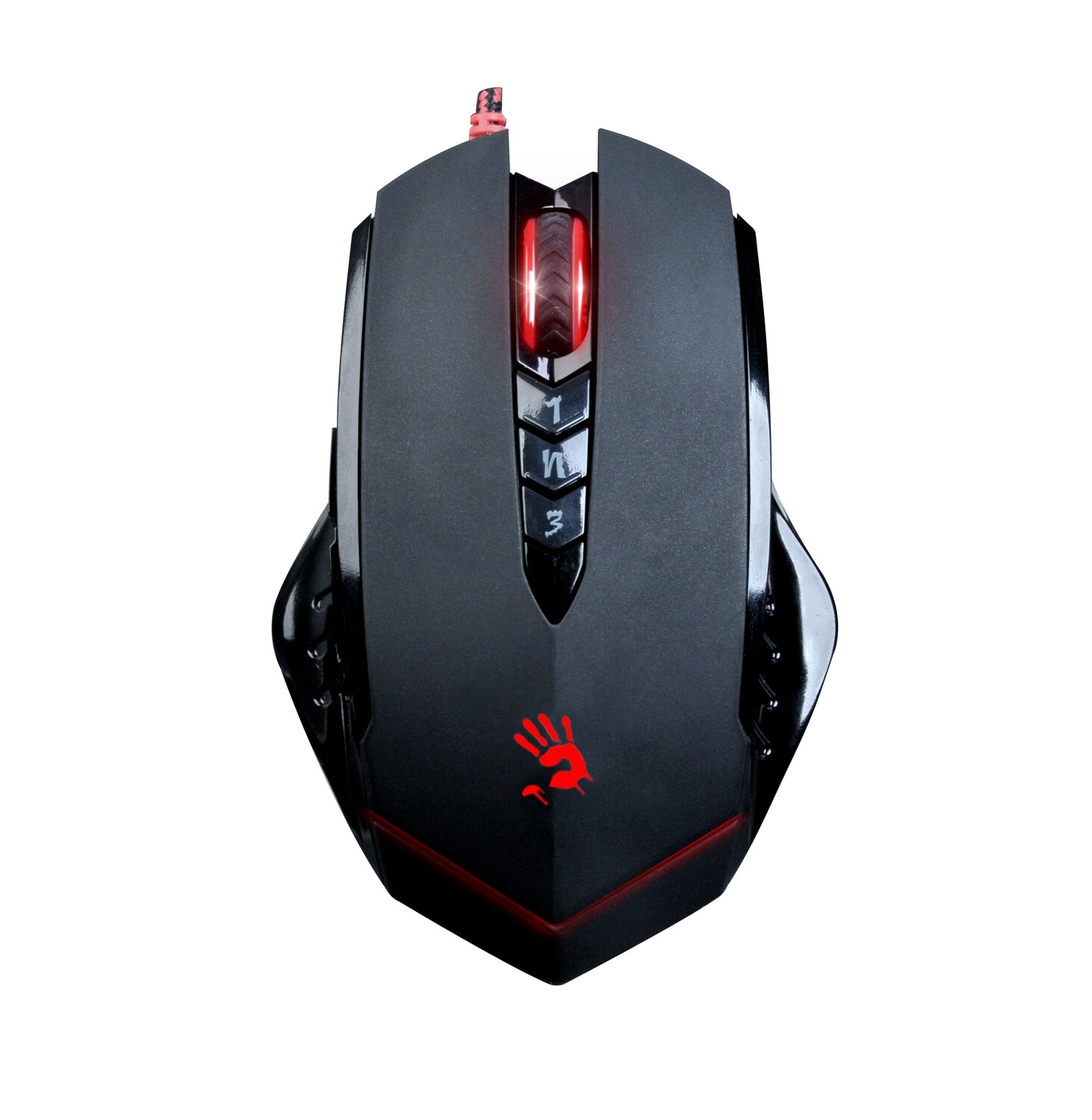 Bloody V8 Ergonomic Claw Grip Gaming Mouse with Rubberized Black Coating - 8 Programmable Buttons - 3200 DPI