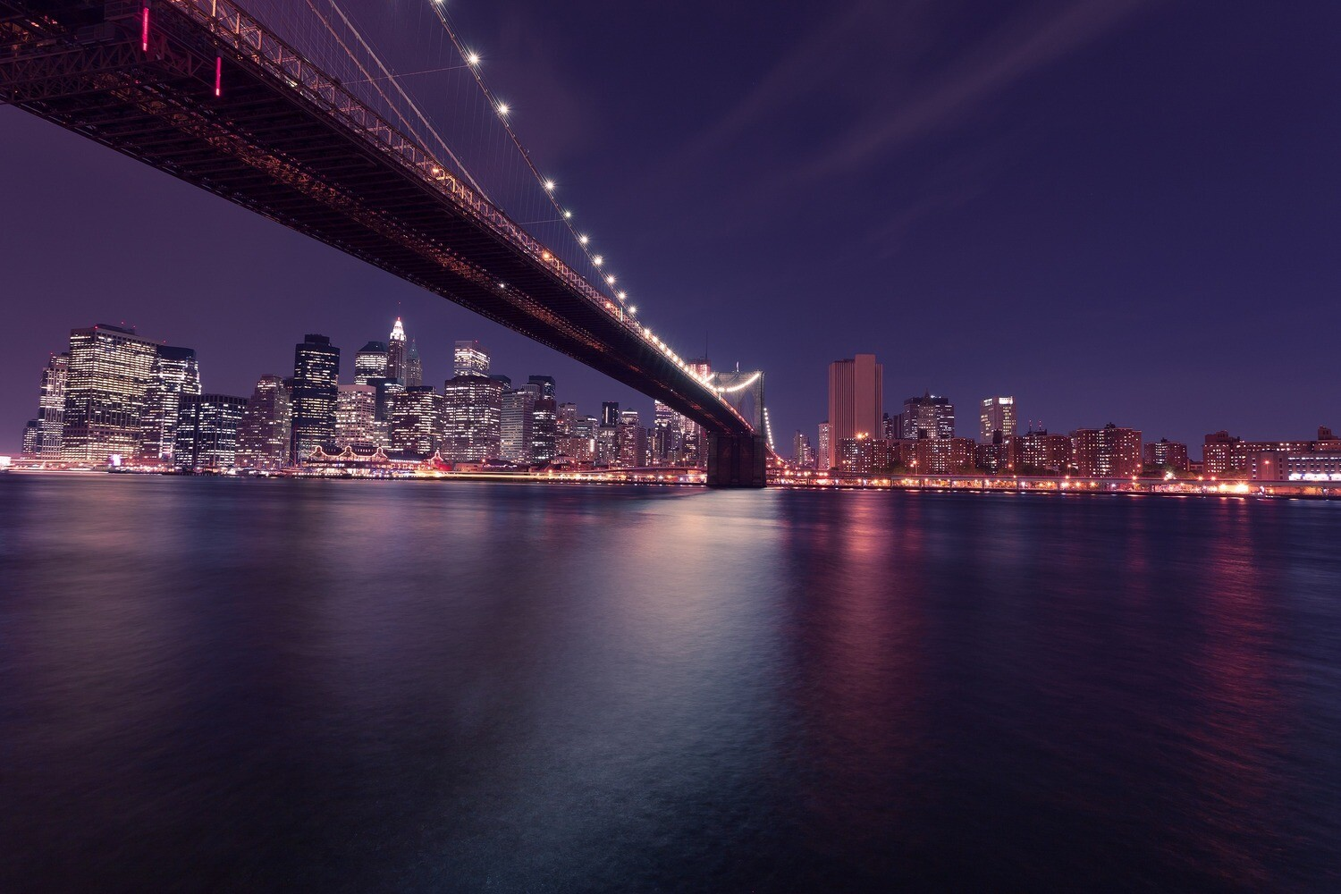 "BROOKLYN BRIDGE NIGHT LIGHTS | 32"" x 24"" Acrylic Art Print 