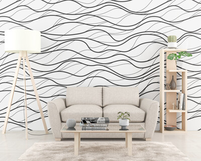 WAVY STRIPES | Vinyl Wall Wrap for Any Room | Removable Vinyl Wallpaper