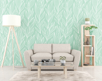 MUTED MINT LEAVES | Vinyl Wall Wrap for Any Room | Removable Vinyl Wallpaper