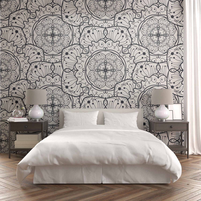 WHITE FLORAL MANDALA | Vinyl Wall Wrap for Any Room | Removable Vinyl Wallpaper