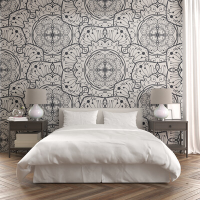 WHITE FLORAL MANDALA | Vinyl Wall Wrap for Any Room | Removable Vinyl Wallpaper