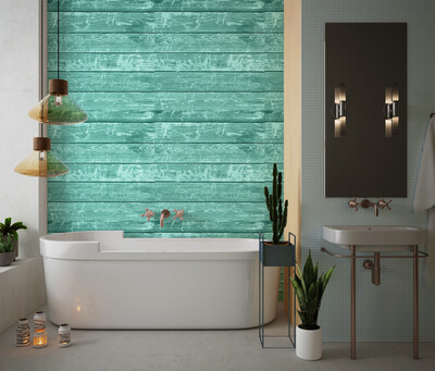 TEAL BARNWOOD | Vinyl Wall Wrap for Any Room | Removable Vinyl Wallpaper