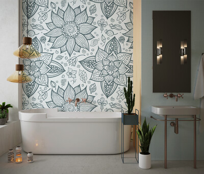 HAND DRAWN FLOWERS | Vinyl Wall Wrap for Any Room | Removable Vinyl Wallpaper