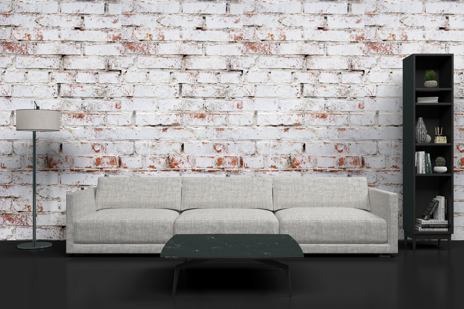 DISTRESSED WHITE BRICK | Vinyl Wall Wrap for Any Room | Removable Vinyl Wallpaper