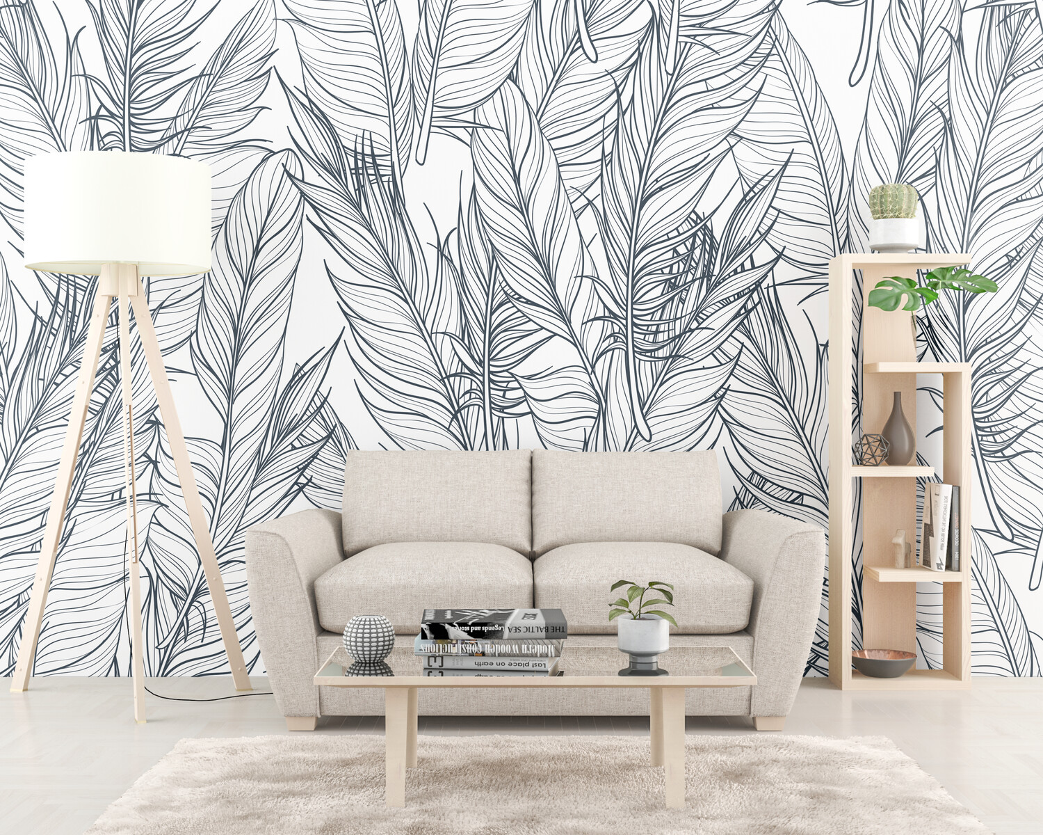 BLACK & WHITE FEATHERS | Vinyl Wall Wrap for Any Room | Removable Vinyl Wallpaper