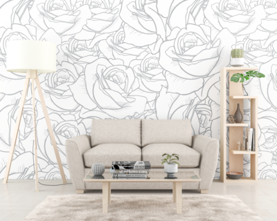 BLACK & WHITE ROSE | Vinyl Wall Wrap for Any Room | Removable Vinyl Wallpaper