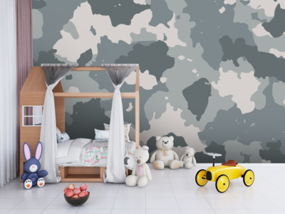 CAMO GREY | Vinyl Wall Wrap for Any Room | Removable Vinyl Wallpaper