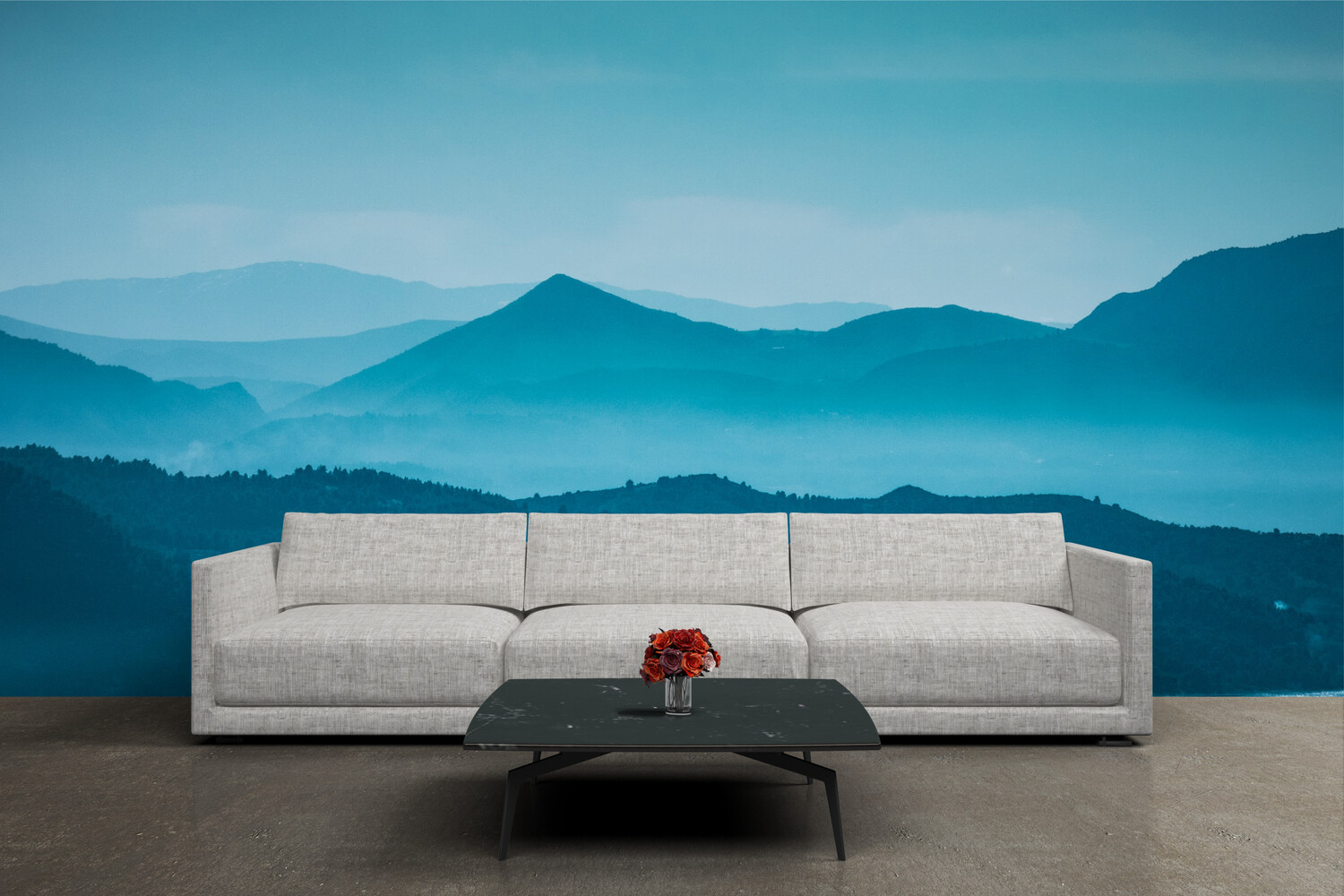BLUE MOUNTAIN GRADIENT | Vinyl Wall Mural for Any Room | Removable Vinyl Wallpaper