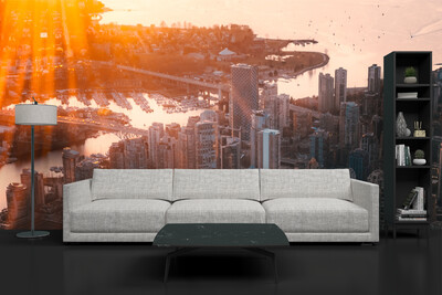 DOWNTOWN SKYLINE | Vinyl Wall Mural for Any Room | Removable Vinyl Wallpaper