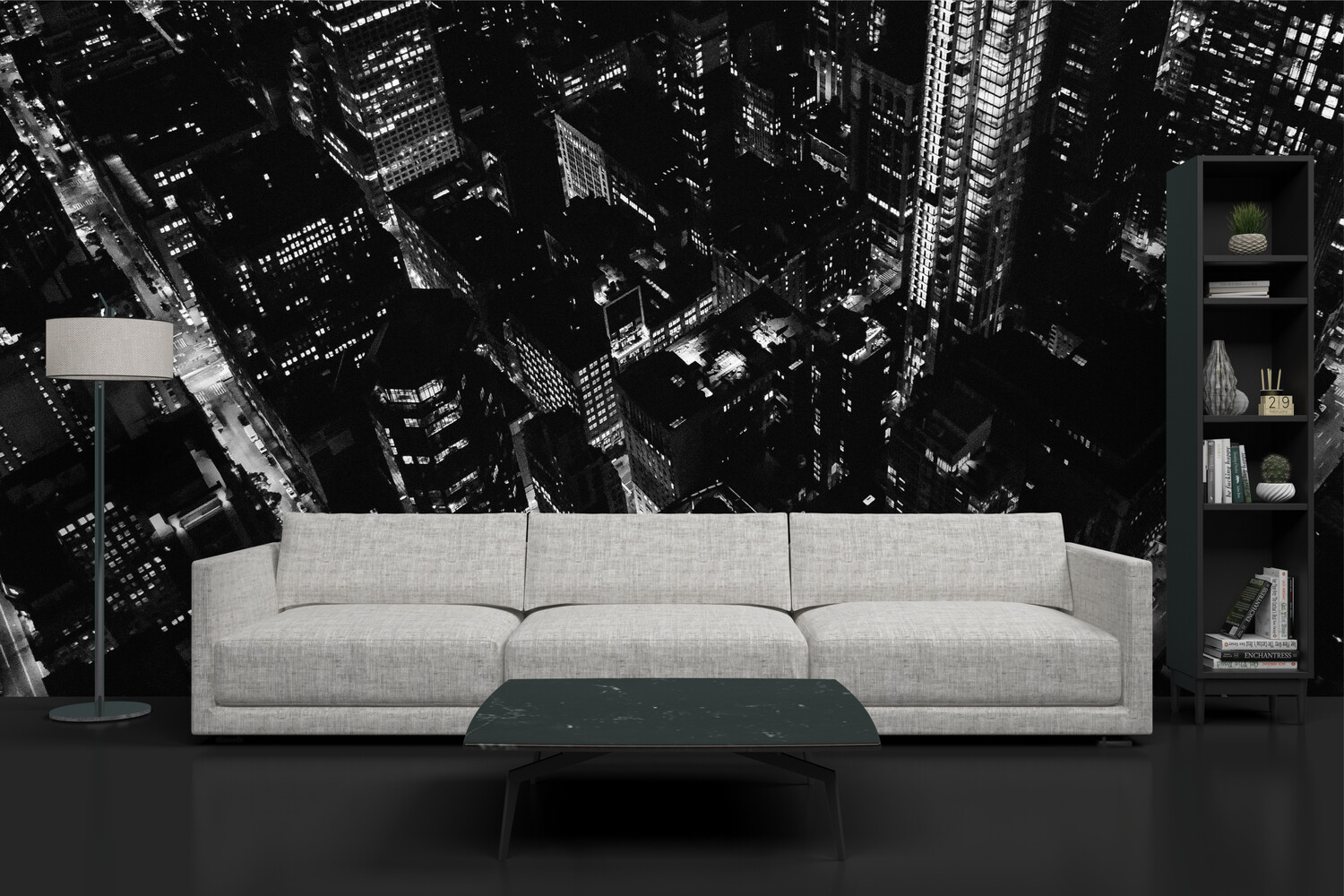 BLACK & WHITE CITY | Vinyl Wall Mural for Any Room | Removable Vinyl Wallpaper