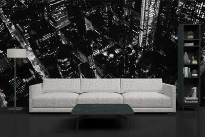 BLACK & WHITE CITY | Vinyl Wall Mural for Any Room | Removable Vinyl Wallpaper