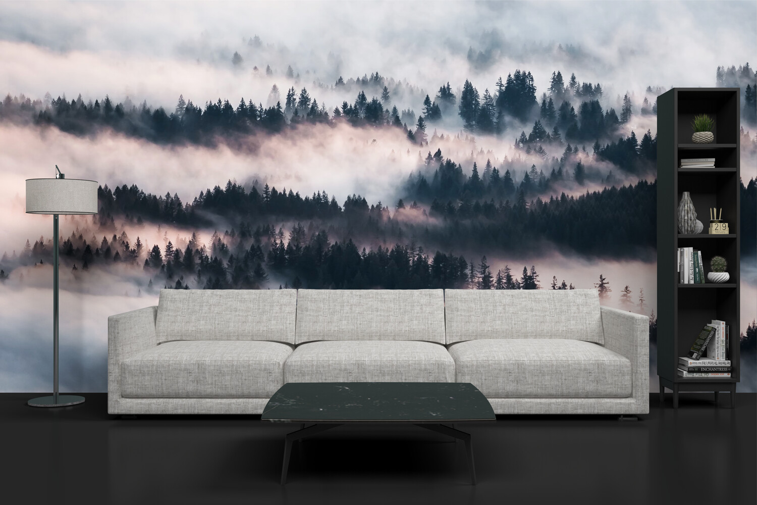 FOGGY FOREST | Vinyl Wall Mural for Any Room | Removable Vinyl Wallpaper