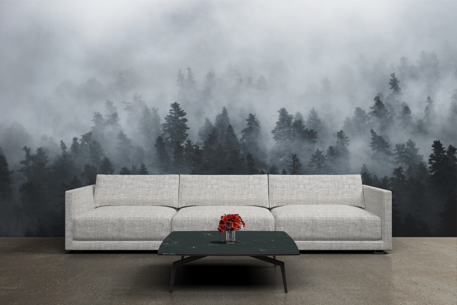 GREYSCALE FOREST | Vinyl Wall Mural for Any Room | Removable Vinyl Wallpaper