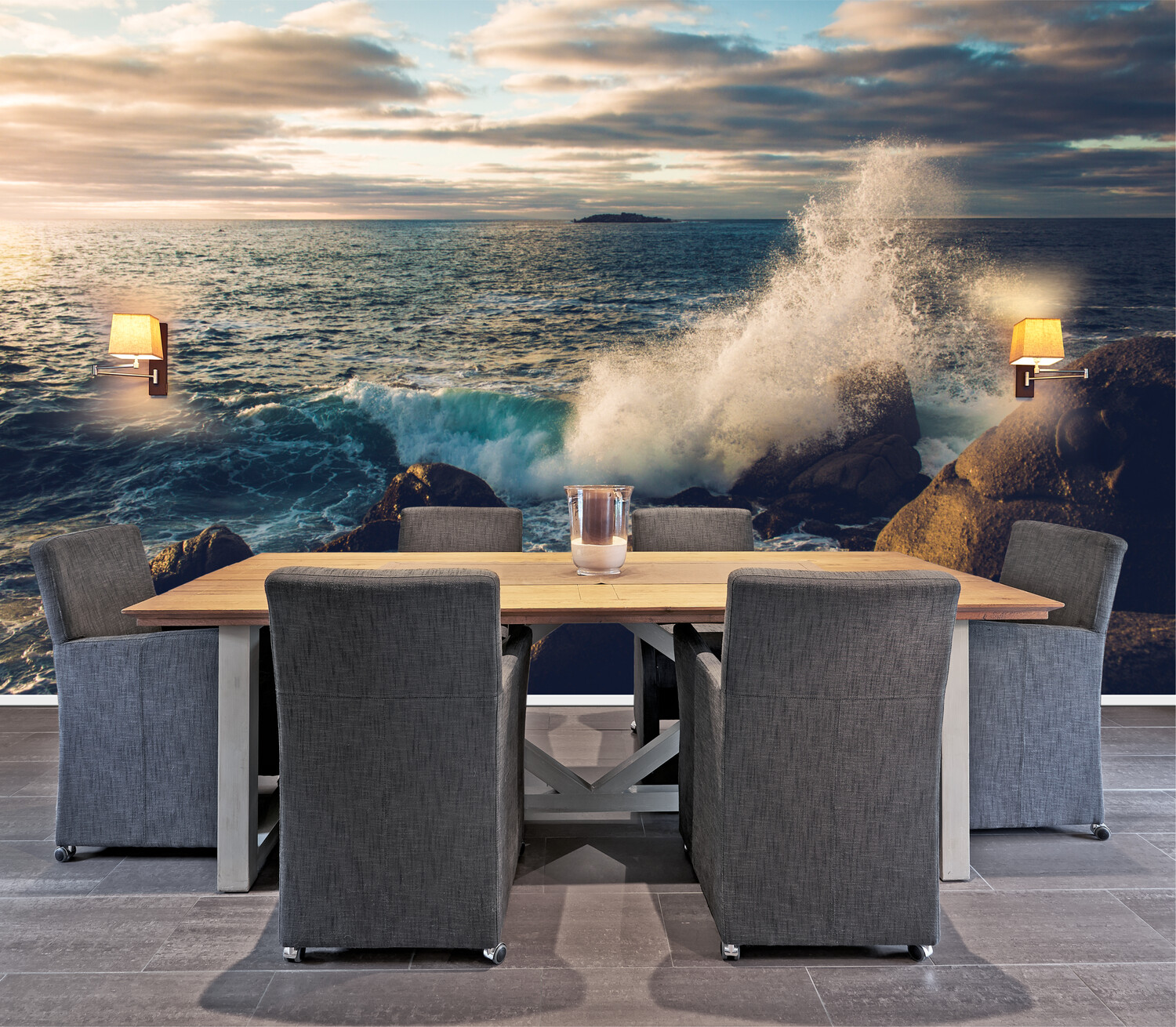 ROCKY WAVES | Vinyl Wall Mural for Any Room | Removable Vinyl Wallpaper