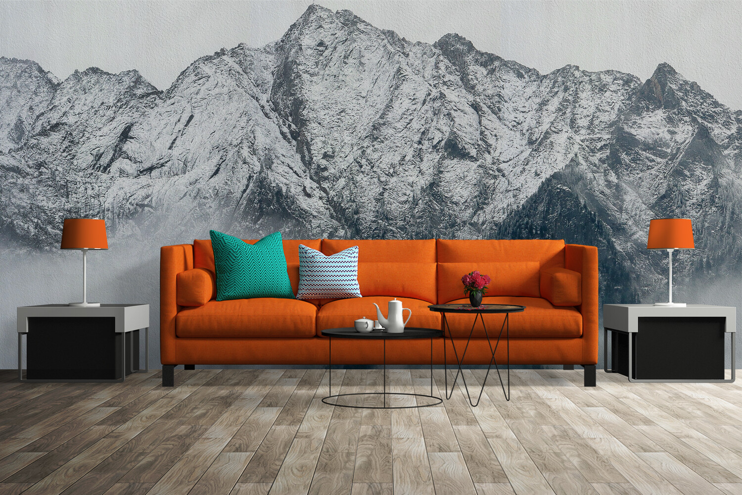 GREYSCALE MOUNTAINSCAPE   Vinyl Wall Mural for Any Room   Removable Vinyl Wallpaper