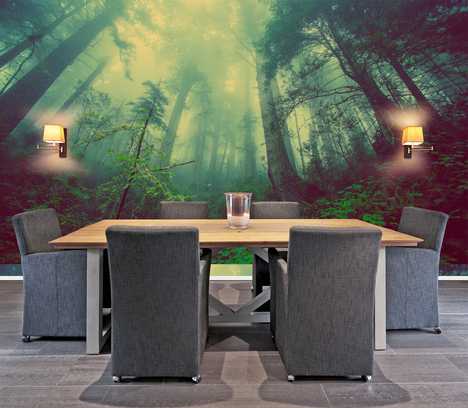 MISTY COASTAL FOREST | Vinyl Wall Mural for Any Room | Removable Vinyl Wallpaper