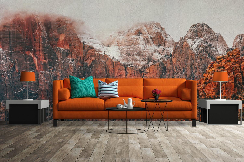 ORANGE MOUNTAINS | Vinyl Wall Mural for Any Room | Removable Vinyl Wallpaper