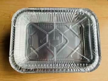 """Aluminum Foil Tray w/ Plastic Lid (10.2"""" x 7.5"""" x 2.6"""")"""