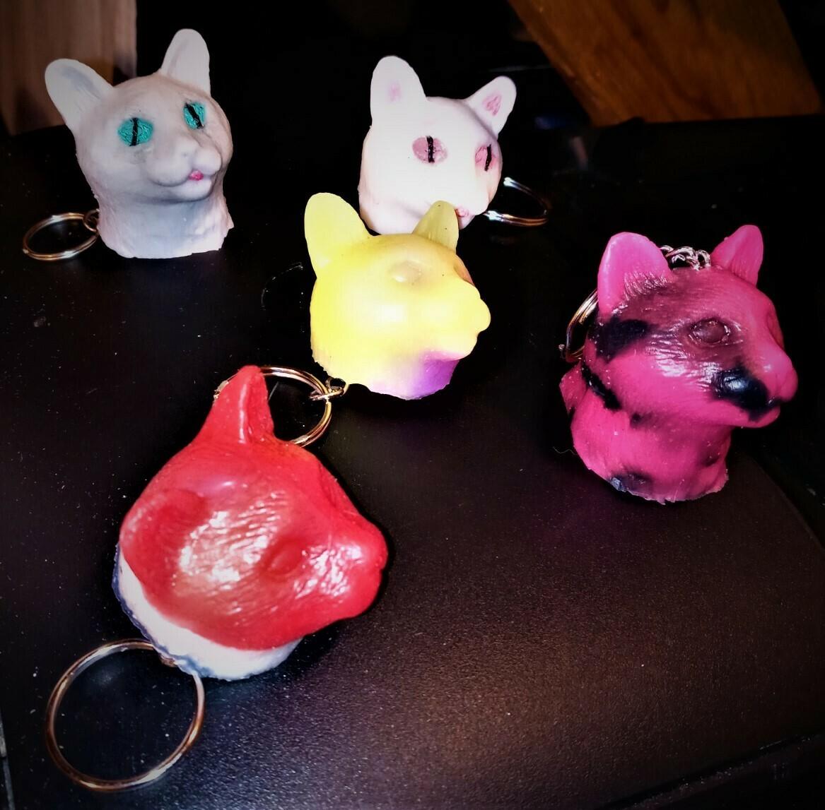 """""""MY SQUISHY"""" Stress Relief Cat Head keychain"""