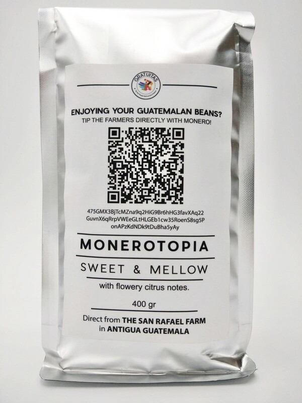 MoneroTopia. Guatemalan Whole-Beans. 14oz bag. Shipping included.