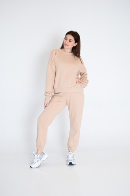 Cotton Sweatpants and Sweatshirt in Nude