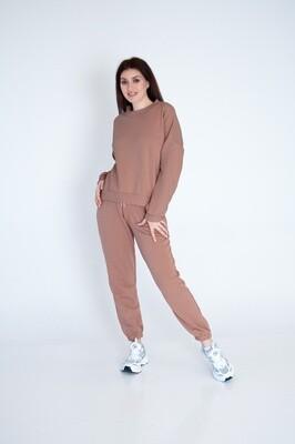 Cotton Sweatpants and Sweatshirt in Brown