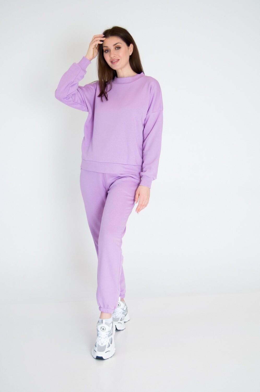 Cotton Sweatpants and Sweatshirt in Purple