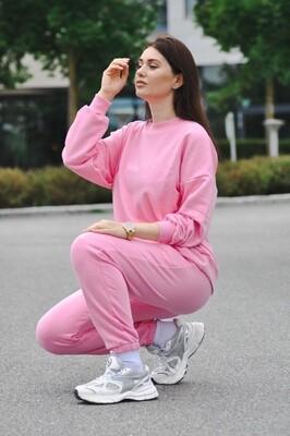 Cotton Sweatpants and Sweatshirt in Pink