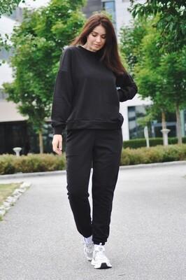 Cotton Sweatpants and Sweatshirt in Black