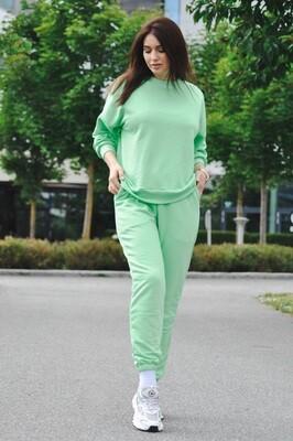 Cotton Sweatpants and Sweatshirt in Green