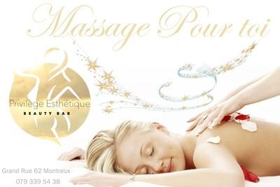 Carte Cadeau d'un massage relaxante de 1h pour femme