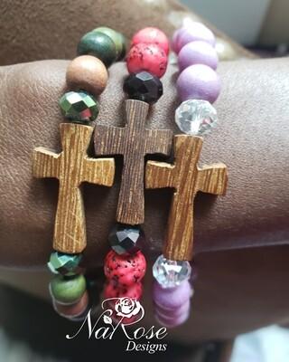 Wooden cross bracelets