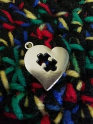 Autism Love Heart Puzzle Charm