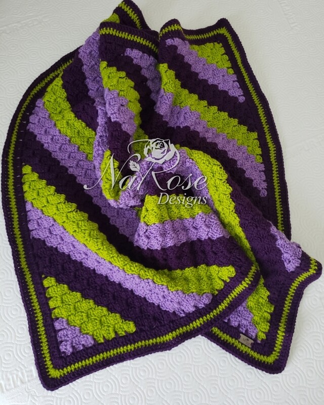 Purple, Lavender and Green Baby Blanket