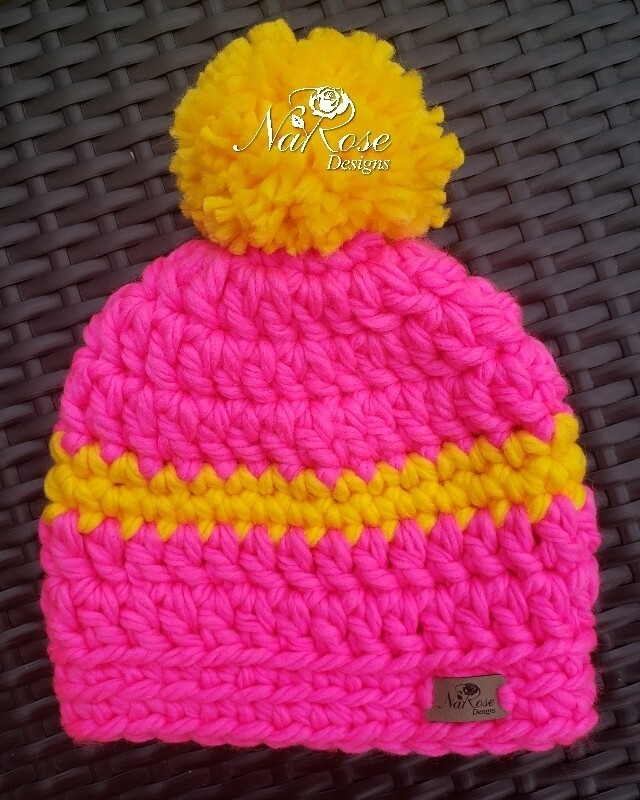 Pink and Yellow Beanie