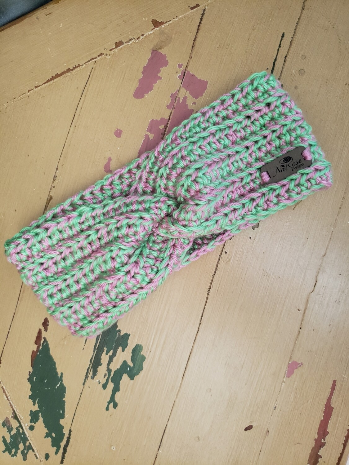 Child's Pink and Green Earwarmer