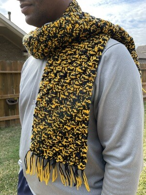 Unisex Men's Black & Gold Scarf