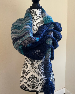 Ma Blues Keyhole Asymmetrical Scarf with Tassel