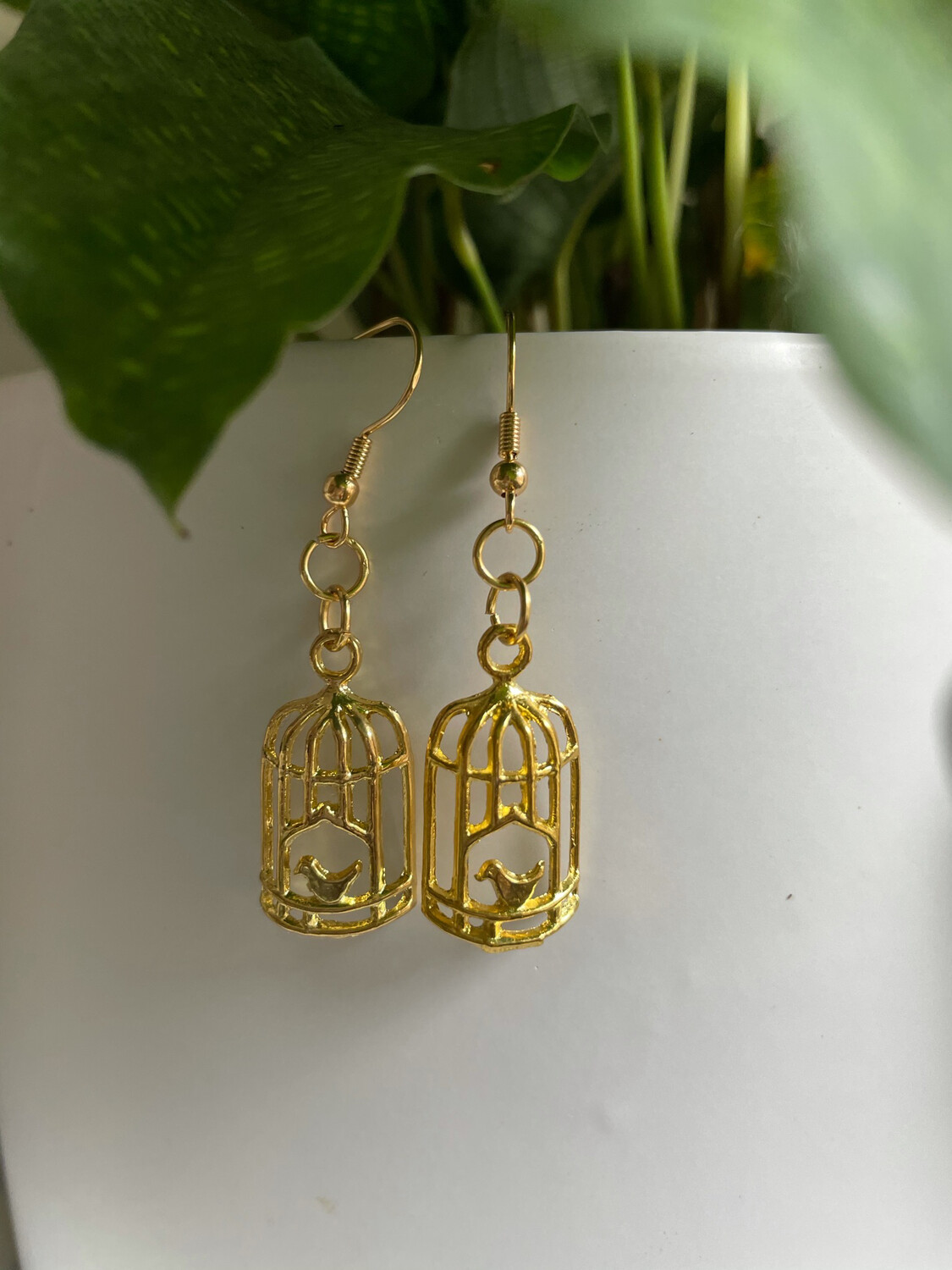 Caged Bird Gold Earrings