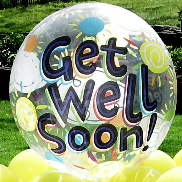 Get well soon balloon bouquet or outdoor contact free gift