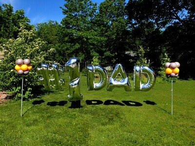 balloon banner, including 2 party poles & installation